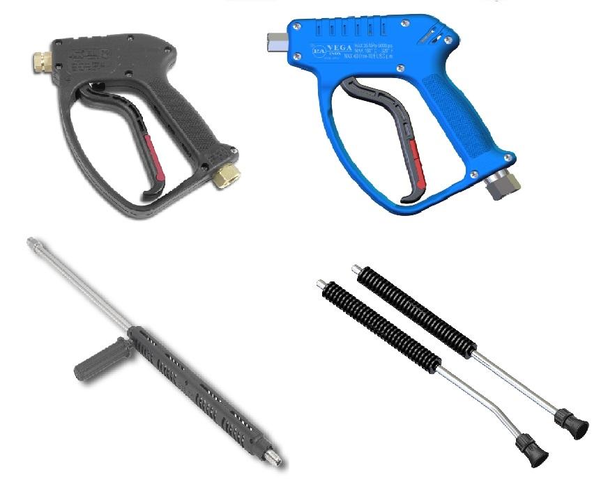 Augstspiediena mazgasanas pistoles un kāti